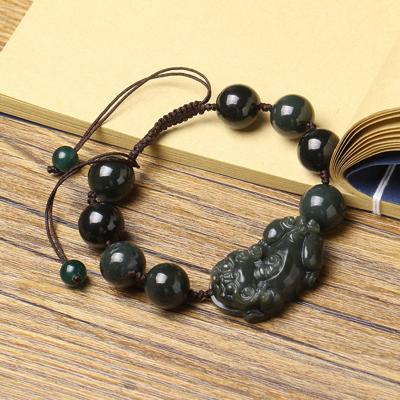 100% Natural Dark Green Hetian Stone Bracelet Carving PIXIU Round Beads Women Men's Gift Bracelets Nephrite Qing Jades Jewelry