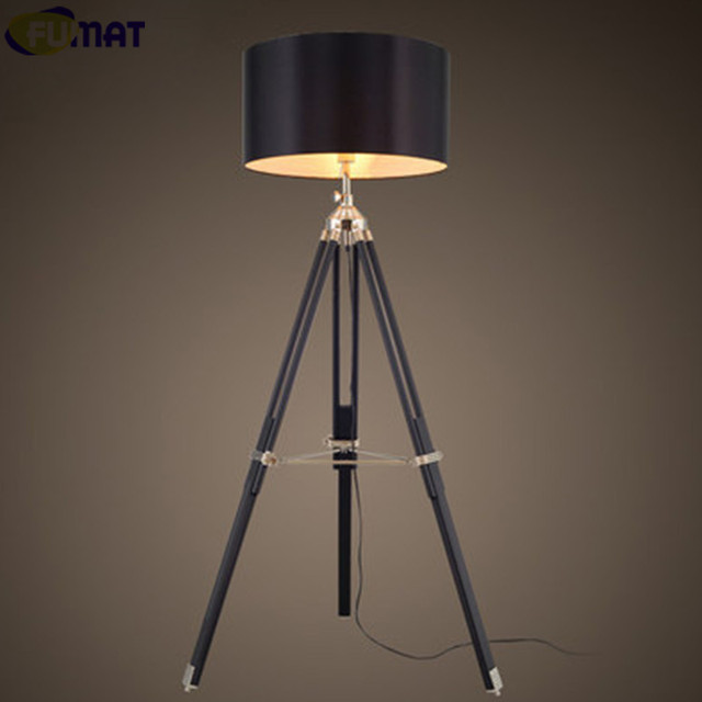 Aliexpress buy fumat tripod floor lamp modern black fabric fumat tripod floor lamp modern black fabric shade floor light retro wood standing lamp designer floor mozeypictures Choice Image