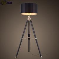 FUMAT Tripod Floor Lamp Modern Black Fabric Shade Floor Light Retro Wood Standing Lamp Designer Floor Lamp for Livign Room