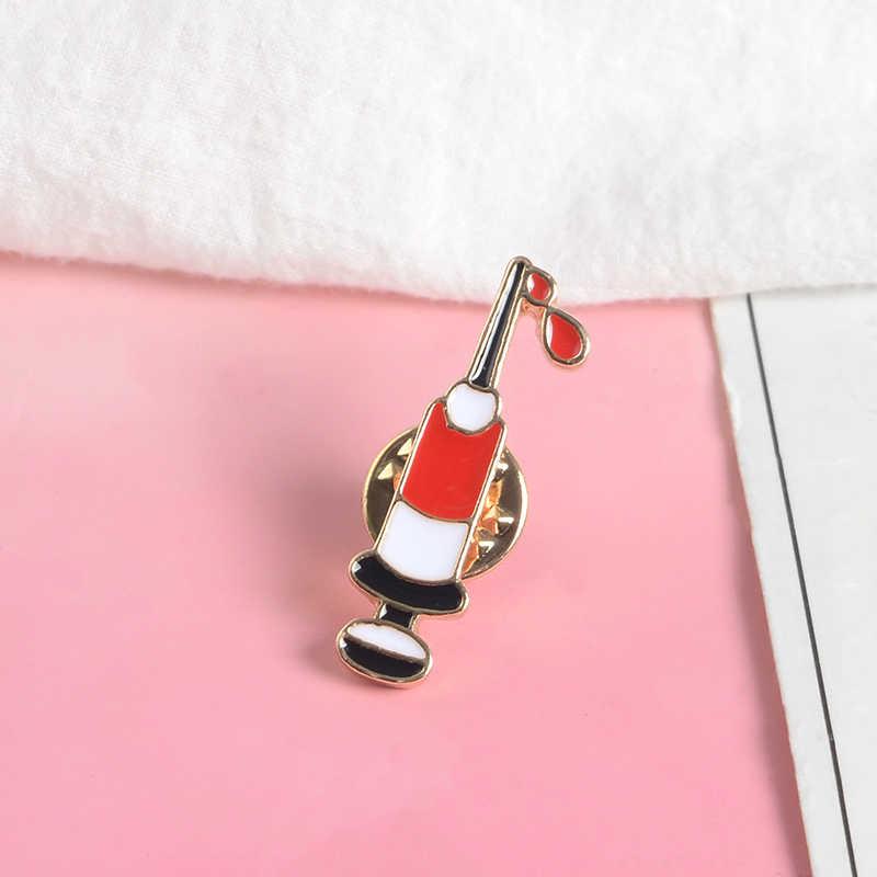 Strzykawka zbiera krew emalia Pin Tiny zaopatrzenie medyczne broszka dla pielęgniarki przypinka plecak Denim kurtki odznaka biżuteria medyczna