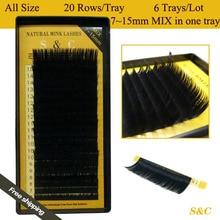 All size,6 cases set,7~15mm MIX ,20rows/tray mink eyelash extension,natural eyelashes,individual eyelashes,false eyelash
