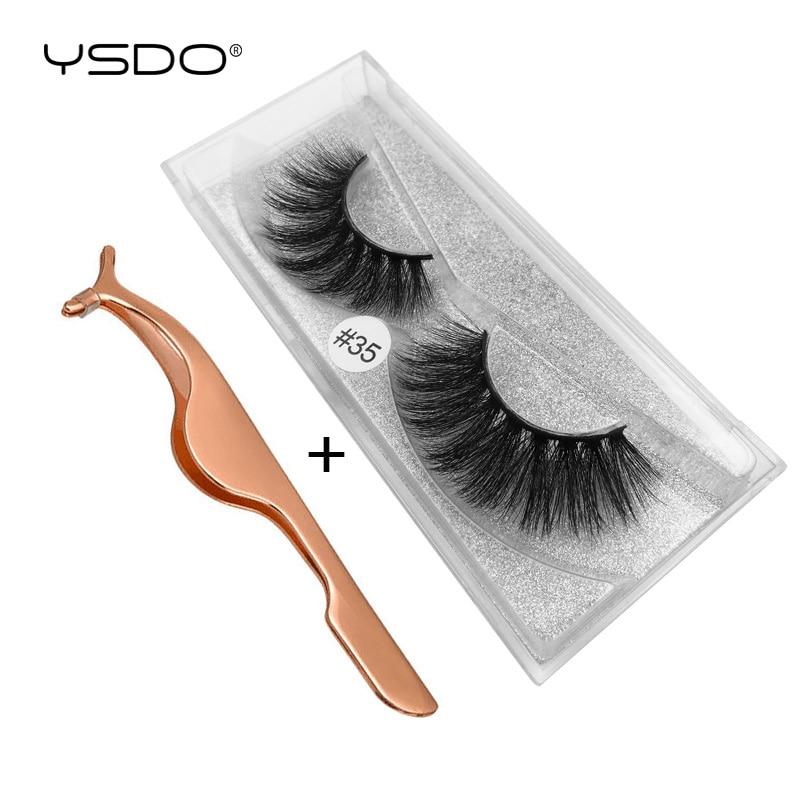 Caixa de cílios vison + 1 1 YSDO pcs pinças cílios vison cílios cílios falsos falso cílios feitas à mão 100% 3d vison cílios naturais