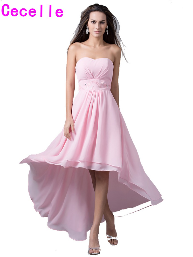Compare prices on wedding bridesmaids gown online shoppingbuy 2017 real high low pink bridesmaid dresses sweetheart beads waist short front long back beach wedding ombrellifo Image collections