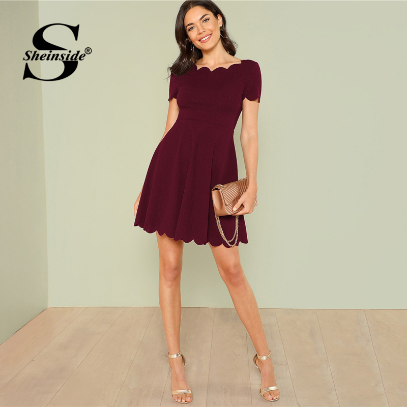 Sheinside Maroon Scallop Trim Party Dress Elegant Office Ladies Solid Boat Neck Dresses 2019 Summer High Waist A Line Dress