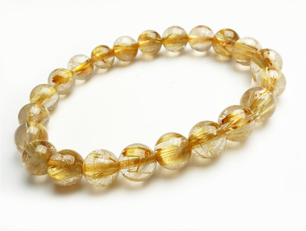 9mm Natural Titanium Gold Rutilated Quartz Crystal Woman Man Wealthy Round Beads Bracelet Jewelry Bangle AAAA