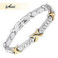 Vivari 2017 Trendy Gold Coating 30 Pcs Clear Crystals Magnetic Women Bracelet Ladies Wristband Bio Jewelry