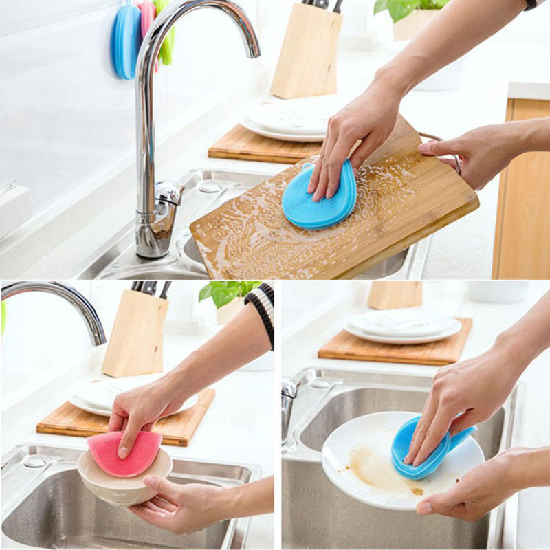Image 4 - Silicone Cleaning Brush Dishwashing Sponge Multi functional Fruit Vegetable Cutlery Kitchenware Brushes Kitchen Tools-in Sponges & Scouring Pads from Home & Garden