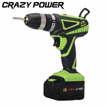 CRAZY POWER 18V Mobile Electric Drill Power Tools Electric Screwdriver Lithium Battery Cordless Drill Mini Drill Hand Tools