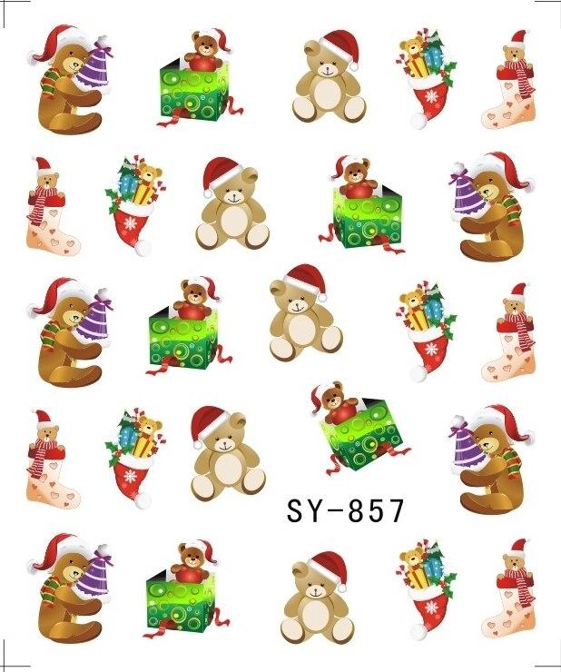 Image 3 - Блестящая водная наклейка для ногтей, наклейки для ногтей на Рождество, Рождество, Санта Клаус, олень, SY855 860-in Стикеры и наклейки from Красота и здоровье on AliExpress