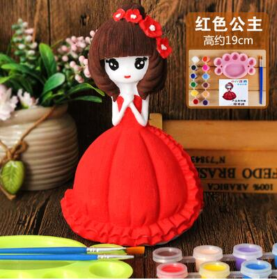 19cm red princess lovely Children 39 s mannequin toy plaster doll Piggy bank mannequin Gift 12 color paint pen palette 1set A262 in Mannequins from Home amp Garden