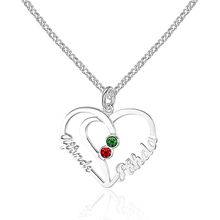 Customized Name Double Heart Pendant Necklace Women 925 Sterling Silver Jewelry Romantic Engagement Gift (NE101571)