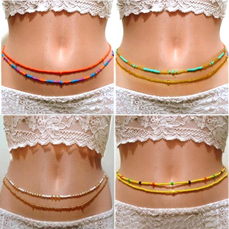 2020 novo duplo grânulo barriga cintura cadeias mulheres sexy biquíni praia corpo corrente strand encantos vintage cintura bohemia jóias