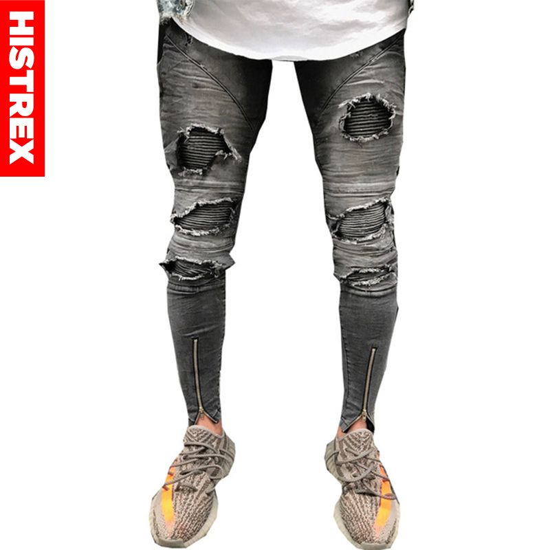 High Street Hole Men Biker Jeans Elasticity Slim Hiphop Ankle Zipper Ripped Denim Trousers Hiphop Pleated Pencil Pants #HJK3K