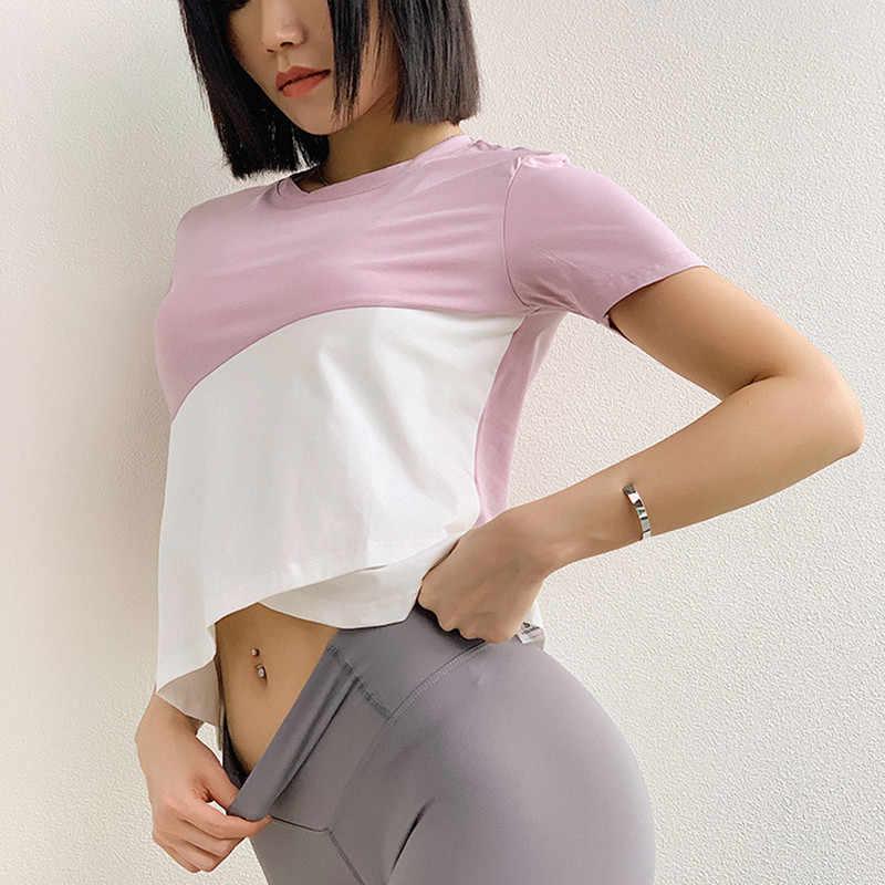 Oddychające sportowe Top Gym kobiety Fitness T Shirt kobieta z krótkim rękawem joga Top luźne szkolenia koszulka do biegania odzież sportowa