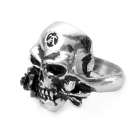 Gothic Men's Biker Stainless Steel Ring Pirates Skull Cool Gothic Punk Style Ring Vampire Skeleton Halloween Jewelry Male