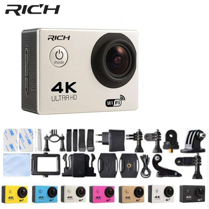 RICH action camera HD WiFi F60 1080P 2.0 LCD 170D Len Helmet Cam Underwater cameras go Waterproof pro Camcorder Sport DVing wimius 20m wifi action camera 4k sport helmet cam full hd 1080p 60fps go waterproof 30m pro gyro stabilization av out fpv camera