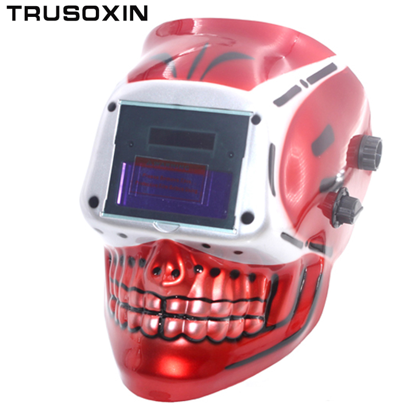 Red SKull AAA battery+Solar auto welding  mask /welding helmet/welder cap/goggle face mask for TIG MIG MMA MAG welding equipment mig mag burner gas burner gas linternas wp 17 sr 17 tig welding torch complete 17feet 5meter soldering iron air cooled 150amp