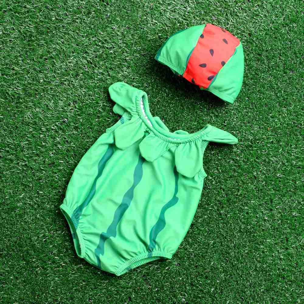 Jednoczęściowy słodkie stroje kąpielowe dla dzieci z kapeluszem - Odzież dla niemowląt - Zdjęcie 4