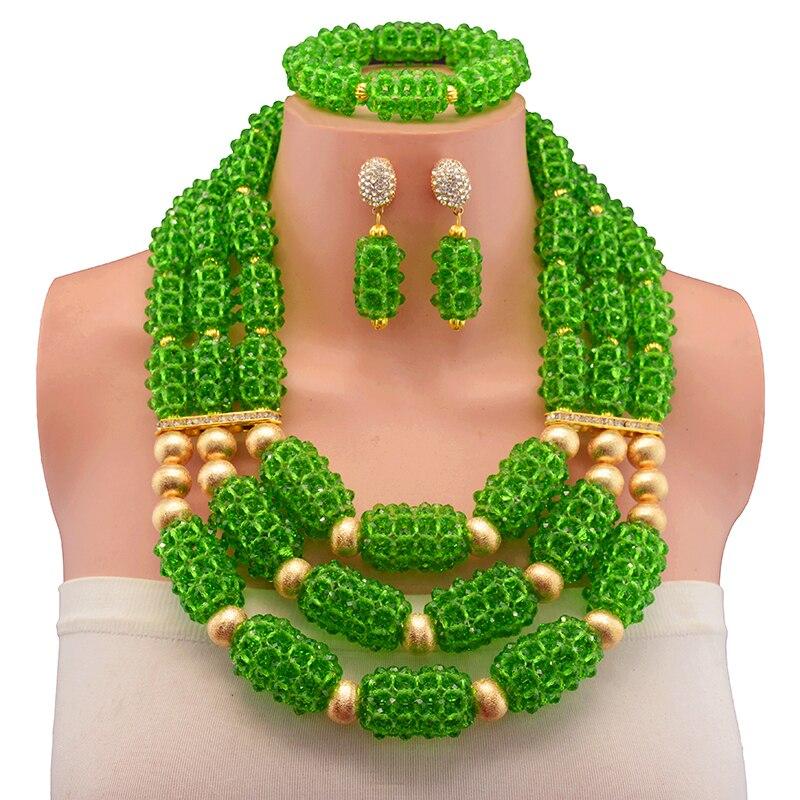 2017 New Green Lady African Beads Jewelry set Dubai Women Choker Necklace Set Indian Nigerian Wedding Bridal Jewelry set splendid nigerian wedding beads vintage classic jewellry set choker necklace set african women bridal jewelry set