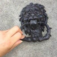 ประตูสิงโต Vintage Cast Iron Doorknocker สีดำ Lionhead ประตู Latch โฮมออฟฟิศประตูตกแต่ง Wrought Iron Craft Retro