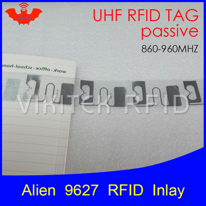 UHF RFID tag Alien 9627 inlay 915mhz 900mhz 868mhz 860-960MHZ Higgs3 EPC Gen2 ISO18000-6c smart card passive RFID tags label 500pcs rfid one off coated paper wristbands tag epc gen2 support alien h3 chip used for personnal management