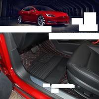 lsrtw2017 luxury wearable fiber leather car floor mat for tesla model s 75D 90D P90D LHD RHD