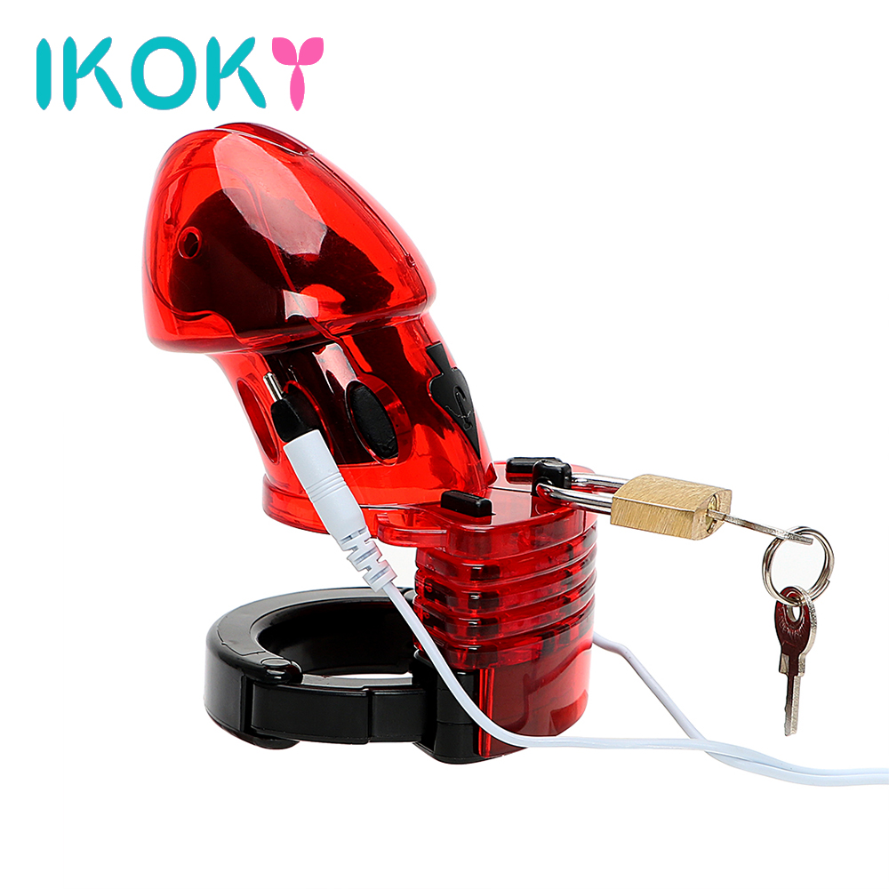 IKOKY Male Chastity Device Adult Products Electric Shock Erotic Medical Themed Toys Penis Cock Cage Sex Toys for Men