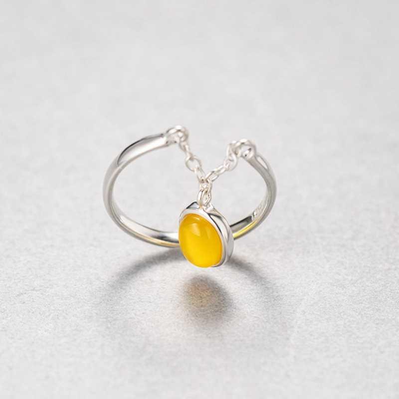 ออกแบบใหม่ 925 เงินสเตอร์ลิงแหวนหยกสีเหลือง Agate คริสตัลผู้หญิงอารมณ์เปิดแหวนแฟชั่นเครื่องประดับของขวัญ