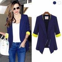 Women 3 4 Sleeve Chiffon Slim Zipper Jacket Spring Autumn Casual Coat Suit For Ladies Newest