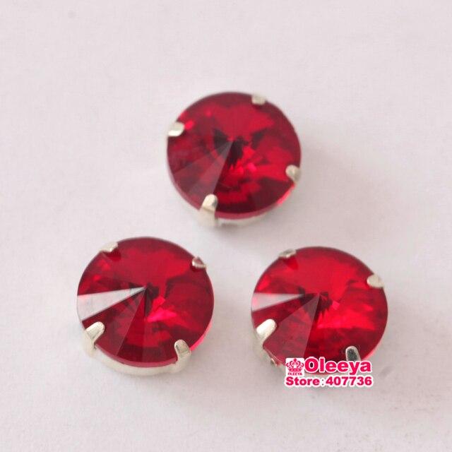 Light Siam Round Rivoli Sew On Claw Rhinestones 8mm 10mm 12mm 14mm 16mm  Glass Sew-On Stone Crystals with Claw for Clothes Y1771 fbda5b853336