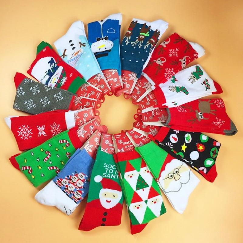 Winter Socks Christmas Series Cotton Christmas Socks Cute Elk / Snowflake / Santa Claus Festival Socks Men's  Sock