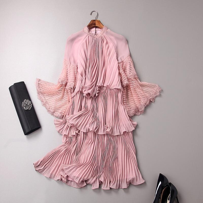 Sexy avant plissée ruches sexy en mousseline de soie robes rose noir Nouvelle 2018 printemps été mode femmes