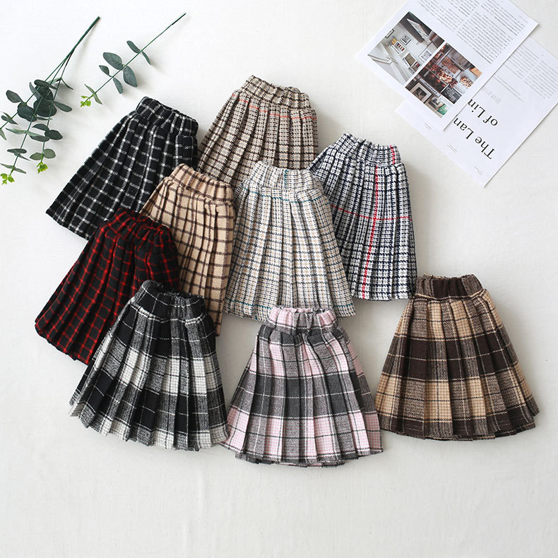 Baby Girls Pleated Skirts 2019 Fashion New Lovely Girl Plaid Skirt School Mini Children Cotton Princess Pleated Tutu Skirts 2-8Y