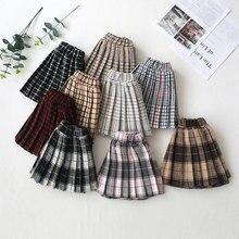 Плиссированные юбки для маленьких девочек г. Модная новая милая клетчатая юбка для девочек школьная мини-юбка принцессы из хлопка, плиссированные юбки-пачки От 2 до 8 лет