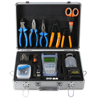 Fiber Optic FTTH Tool Kit with AUA 60S Fiber Cleaver and Optical Power Meter 10MW Visual Fault Locator wire stripper toolbox set