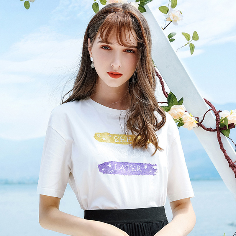 Wasteheart Summer New Women Tops Fashion White Women T shirts Printed O Neck Short Cotton T Shirt Casual Shirts Female Sexy Tees in T Shirts from Women 39 s Clothing
