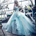 Vestidos de Fiesta Evening Gowns Strapless Neckline Lace Appliques Hand Made Flowers Sleeveless Ball Gown Light Blue Prom Dress
