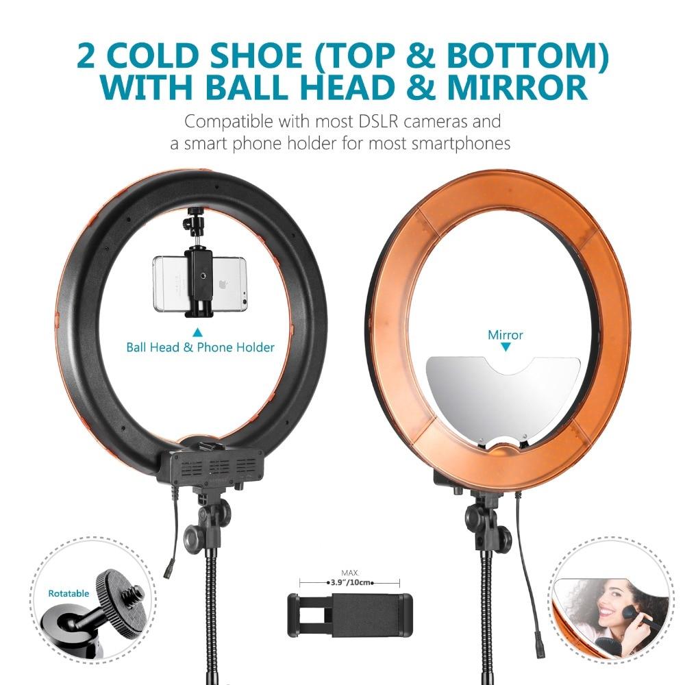 Neewer LED lumière annulaire 18 pouces diamètre extérieur avec haut/bas double chaussure chaude miroir support de smartphone support de lumière Tube souple filtre - 6