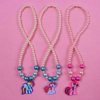 1Pcs Girls Cartoon My Little Horse poni baoli Pendant Necklaces Choker Jewelry Cosplay Character Unicorn Children Party Gift