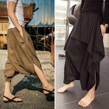 2017 summer New Bloomers skirt summer linen loose low pants harem pants hairstylist nightclub Big crotch pants singer costumes