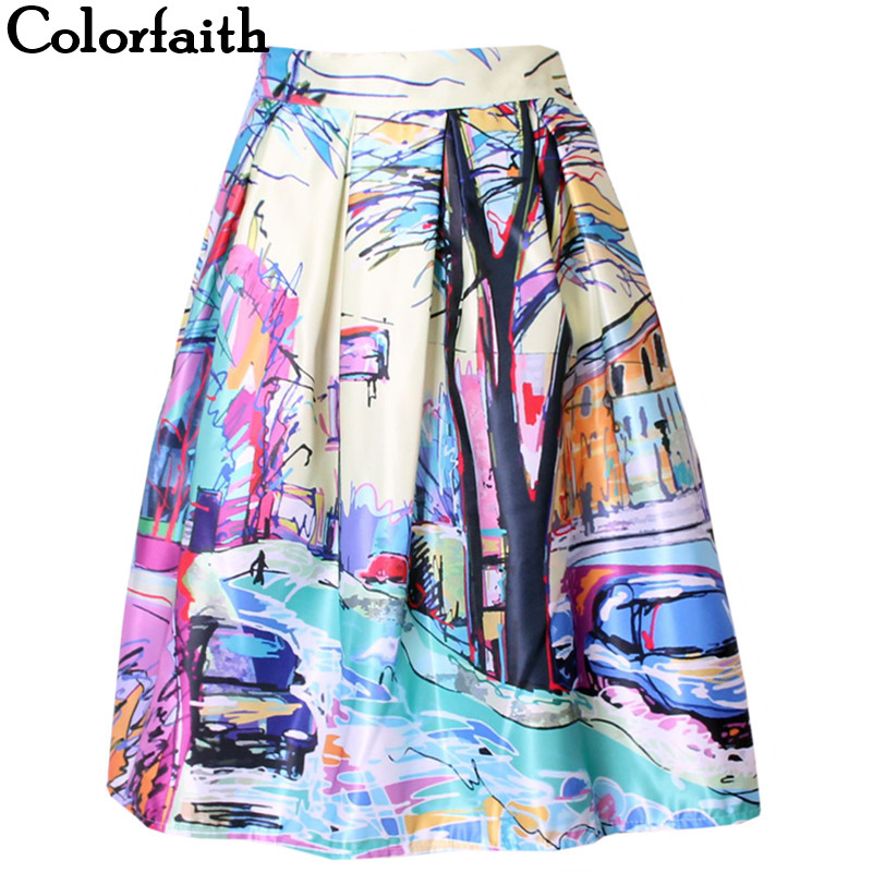 2016 Fashion Satin Women Skirt Summer Vintage Retro Fantasy Scenery Painting Print High Waist Midi Skirt Ball Gown Saia SK056|gown and robe sets|gowns cheapgown kids - AliExpress