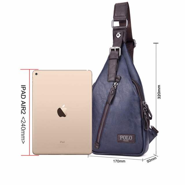 f23af7174a7f placeholder VICUNA POLO Famous Brand Theftproof Magnetic Button Open Leather  Mens Chest Bags Fashion Travel Crossbody Bag