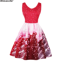 Himanjie Women S Christmas Tree And Star Lights Patterns V Necked Sleeveless Vintage Dress For Christmas