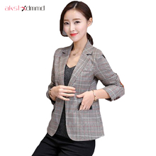 AKSLXDMMD 2018 New Plaid Formal Suits for Women Fashion Newest Designer Blazer Women's Long Sleeve Jacket YR091