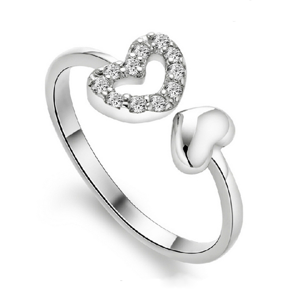 fashion 925 Silver double love opening ring hollow female models fashion cute vintage jewelry, wholesale free shipping