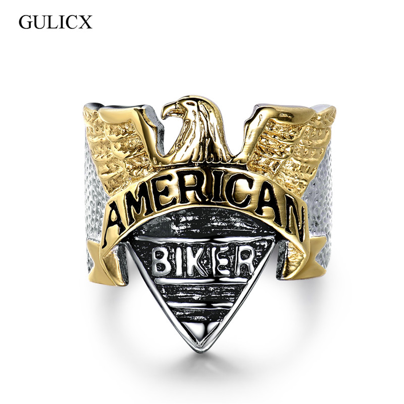 GULICX New Arrival Luxurious American Biker Stainless Steel Rings for Men Military Metals Punk Rock Rings Jewelry BR134
