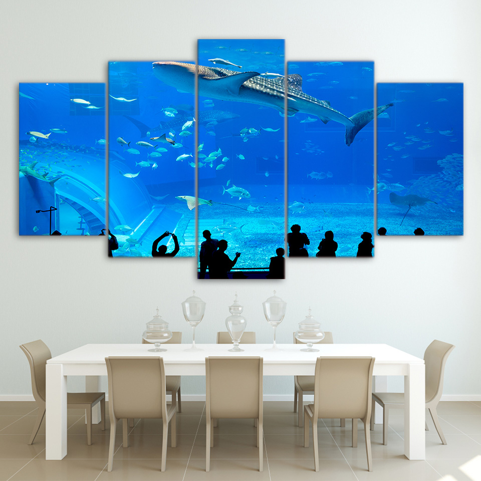 Decoration home art canvas pictures 5 panel blue aquarium fish group prints poster wall for - Decorative fish tanks for living rooms ...