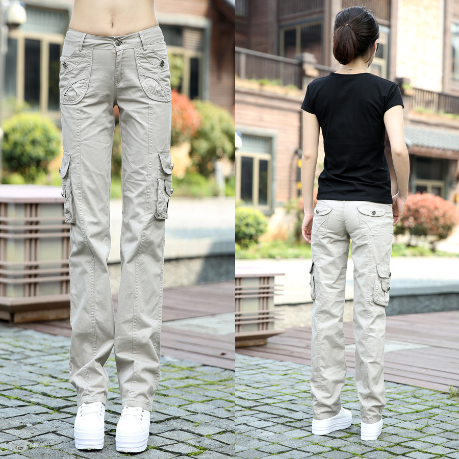 Khaki Cargo Pants Women 2017 New Fashion Womens Casual 100% Cotton Multi-pockets - LOLLINPOPPIN Store store