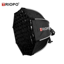 купить TRIOPO 55cm Octagon Umbrella Softbox with Honeycomb Grid For Godox Flash speedlite photography studio accessories soft Box дешево