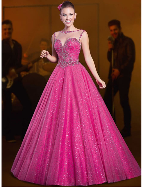 Best Selling Hot Pink A Line Sheer Corset Long Prom Dresses Girl ...